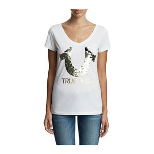 True Religion Women's Horseshoe Logo V-Neck Tee